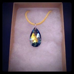 Meadow Green Crystal Teardrop Necklace